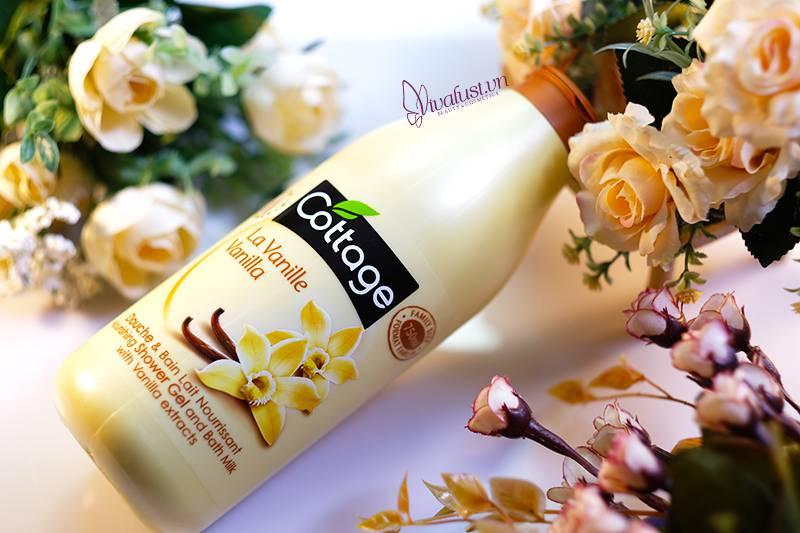 Sữa tắm Cottage Vanilla hương Vani - Chai 750ml sài thả ga